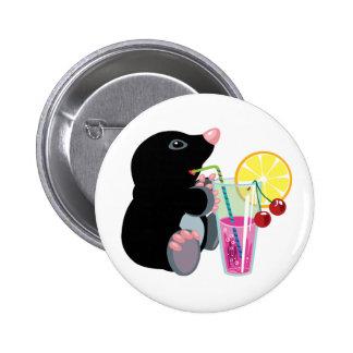 cartoon mole drinking cocktail 6 cm round badge