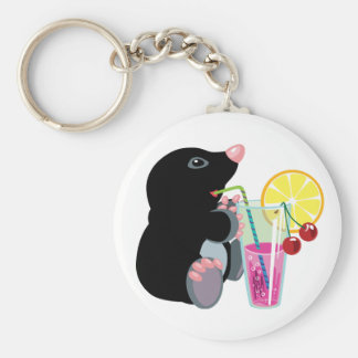 cartoon mole drinking cocktail basic round button key ring