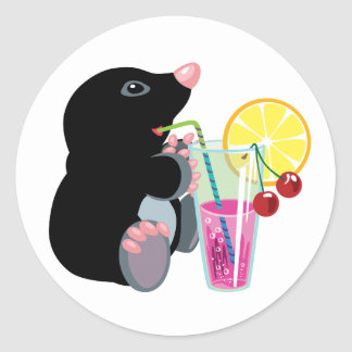 cartoon mole drinking cocktail classic round sticker