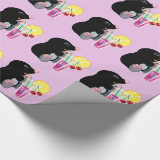 cartoon mole drinking cocktail wrapping paper