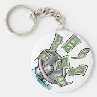 Cartoon Money Megaphone Concept Key Ring