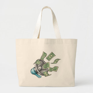Cartoon Money Megaphone Concept Large Tote Bag