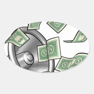Cartoon Money Megaphone Concept Oval Sticker
