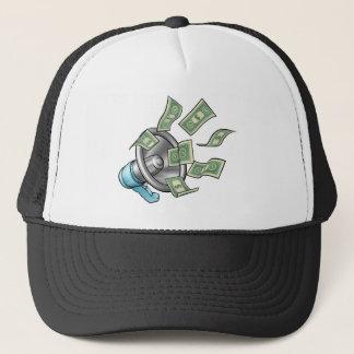Cartoon Money Megaphone Concept Trucker Hat