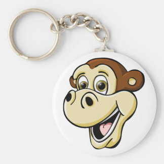Cartoon Monkey Basic Round Button Key Ring
