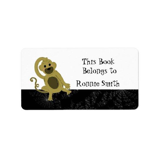 Cartoon Monkey Bookplate Address Label
