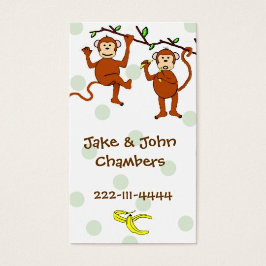 Cartoon Monkey calling card