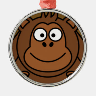 Cartoon Monkey Face Silver-Colored Round Decoration