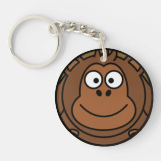 Cartoon Monkey Face Round Acrylic Keychain