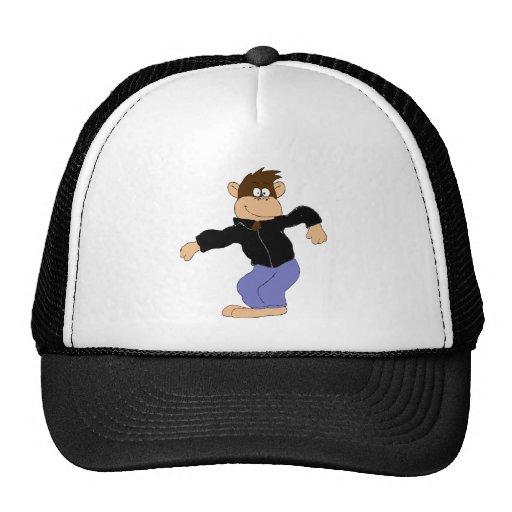 Cartoon Monkey In Leather Jacket Hats