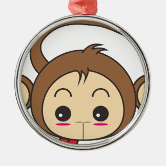 Cartoon monkey Silver-Colored round decoration