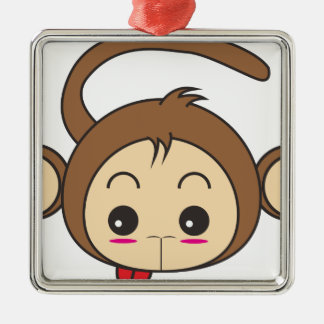 Cartoon monkey Silver-Colored square decoration