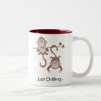 Cartoon monkeys hanging around Two-Tone coffee mug