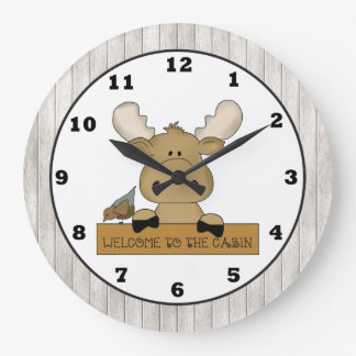 Cartoon Moose Welcome Cabin wall clock