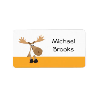 Cartoon moose - yellow and white name label/tag label