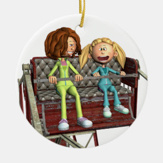 Cartoon Mother and Daughter on a Ferris Wheel Christmas Ornament
