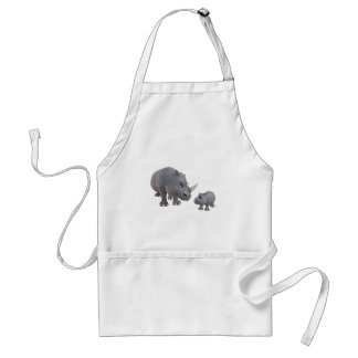 Cartoon mother and Son Rhino Aprons
