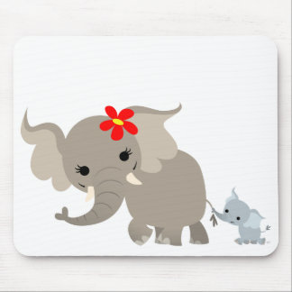 Cartoon Mother Elephant and Calf Mousepad