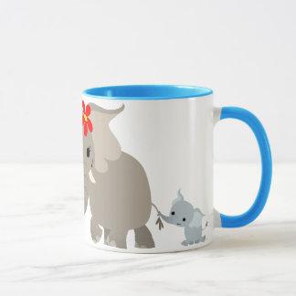 Cartoon Mother Elephant and Calf Mug