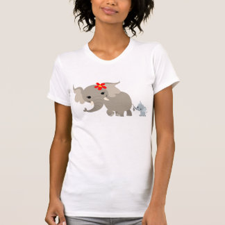 Cartoon Mother Elephant and Calf Women T-shirt