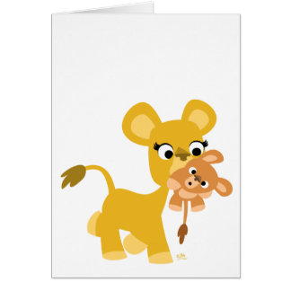 Cartoon Mother Lion and Cub notecard