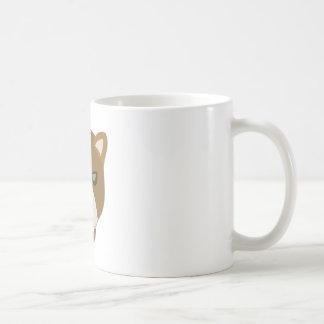Cartoon Mountain Lion Head Basic White Mug
