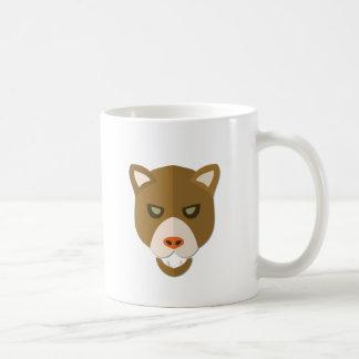 Cartoon Mountain Lion Head Coffee Mugs