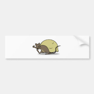 Cartoon Mouse Carrying Bag and Giving Thumbs Up Bumper Sticker