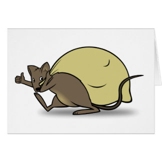 Cartoon Mouse Carrying Bag and Giving Thumbs Up Greeting Card