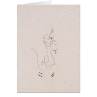 Cartoon mouse dancing up a storm, thank you card