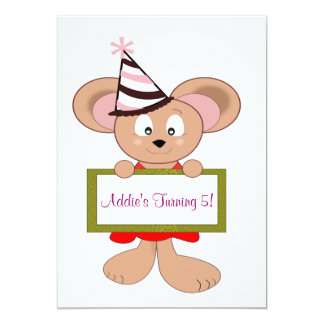 Cartoon Mouse in Party Hat 5th Birthday Sign 13 Cm X 18 Cm Invitation Card