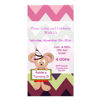 Cartoon Mouse in Party Hat 5th Birthday Sign Custom Photo Card