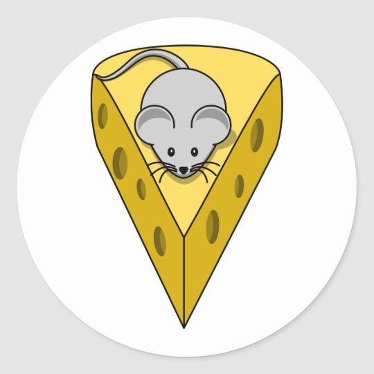 Cartoon Mouse on a Wedge of Swiss Cheese
