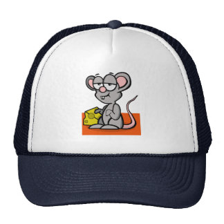 Cartoon Mouse with Cheese Cap