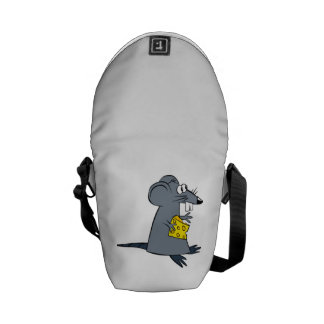 Cartoon Mouse with Cheese Messenger Bag