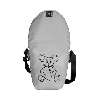 Cartoon Mouse with Cheese Messenger Bags