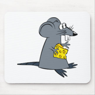 Cartoon Mouse with Cheese Mouse Mat
