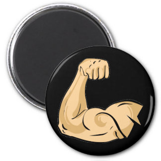 CARTOON MUSCLES MAN strong arm biceps athletic pow Magnet