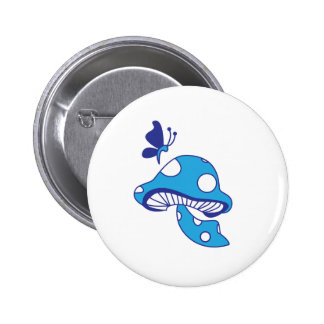 Cartoon Mushroom & Butterfly 6 Cm Round Badge