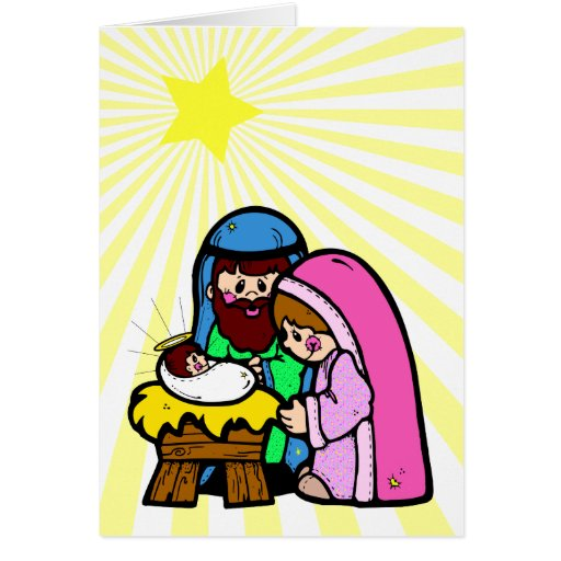 Cartoon Nativity Scene Card Greeting Cards