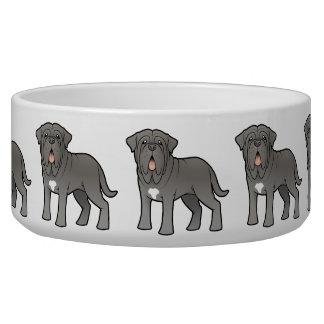 Cartoon Neapolitan Mastiff Dog Water Bowl