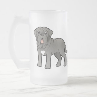 Cartoon Neapolitan Mastiff Frosted Glass Beer Mug