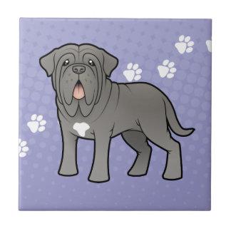 Cartoon Neapolitan Mastiff Small Square Tile