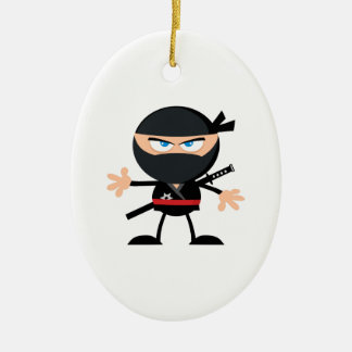 Cartoon Ninja Warrior Ceramic Oval Decoration
