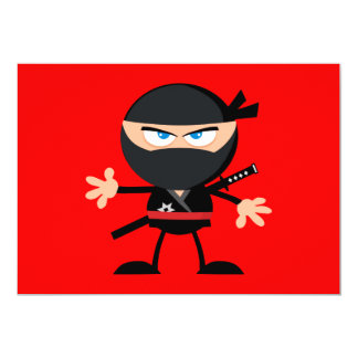 Cartoon Ninja Warrior Red 13 Cm X 18 Cm Invitation Card