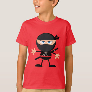 Cartoon Ninja Warrior Red T-Shirt