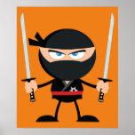 Cartoon Ninja Warrior With Two Katana Poster