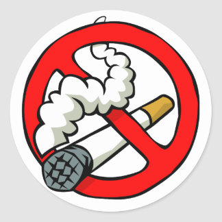 Cartoon No Smoking Sign Round Sticker