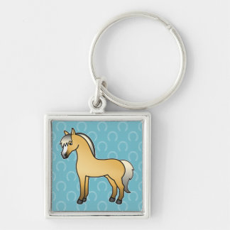 Cartoon Norwegian Fjord Horse Silver-Colored Square Key Ring