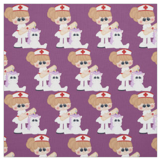 Cartoon Nurse and Unicorn Pima cotton fabric